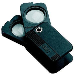 Loupe pliante de poche à double optique - x4 + x6 = x10