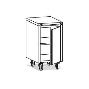 Meuble Inox sous paillasse - 1 porte - Ouverture droite - 490 x 570 mm - Bano