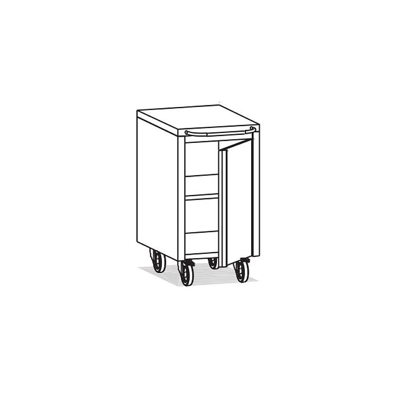 Meuble Inox sous paillasse - 1 porte - Ouverture gauche - 490 x 570 mm - Bano