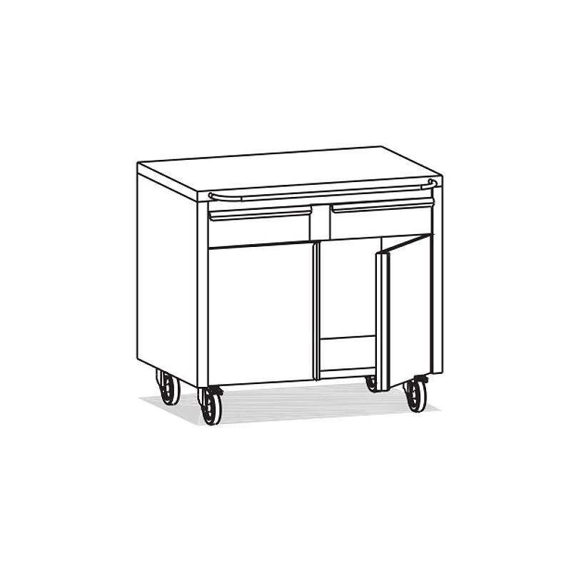 Meuble Inox sous paillasse - 2 portes / 2 tiroirs - 980 x 670 mm - Bano