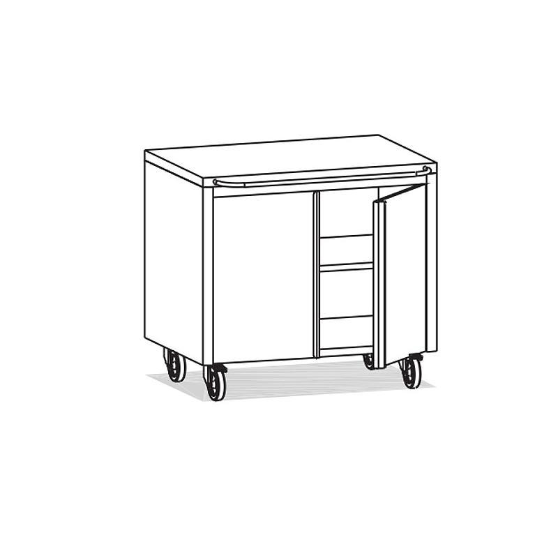 Meuble Inox sous paillasse - 2 portes - 980 x 570 mm - Bano