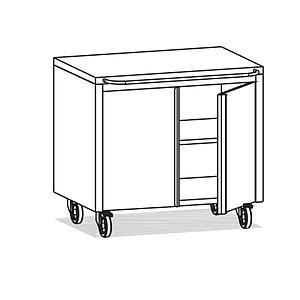Meuble Inox sous paillasse - 2 portes - 980 x 670 mm - Bano