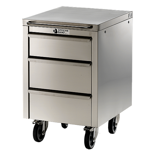 Meuble Inox sous paillasse - 3 tiroirs - 490 x 570 mm - Bano