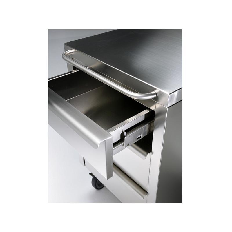 Meuble Inox sous paillasse - 3 tiroirs - 490 x 670 mm - Bano