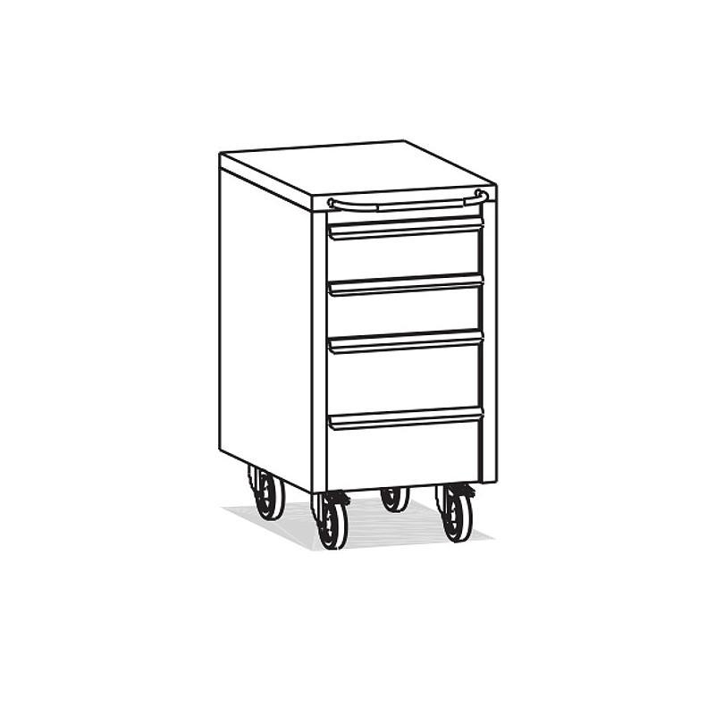 Meuble Inox sous paillasse - 4 tiroirs - 490 x 570 mm - Bano