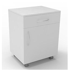 Meuble mobile blanc à 1 porte 1 tiroir, L600 x p450 x H720mm