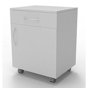 Meuble mobile blanc à 1 porte 1 tiroir, L600 x p500 x H780 mm
