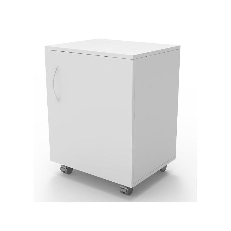 Meuble mobile blanc à 1 porte, L530 x p450 x H720 mm