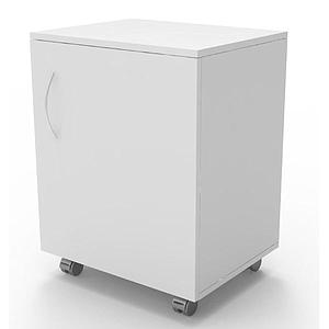 Meuble mobile blanc à 1 porte, L530 x p500 x H780mm