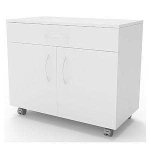Meuble mobile blanc à 2 portes 1 tiroir, L900 x p450 x H720mm