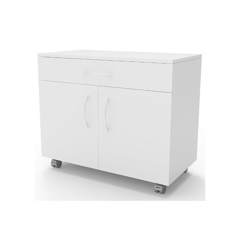 Meuble mobile blanc à 2 portes 1 tiroir, L900 x p500 x H780 mm