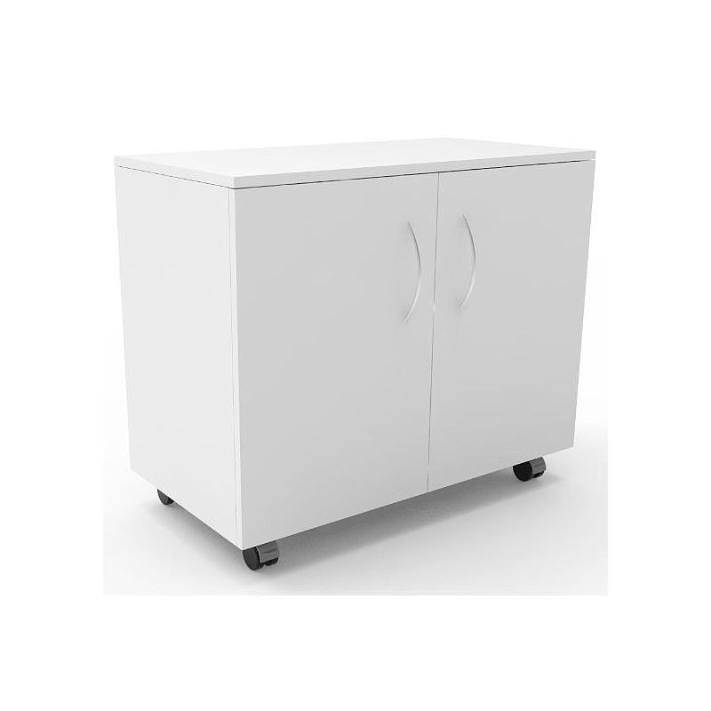 Meuble mobile blanc à 2 portes, L900 x p500 x H780 mm
