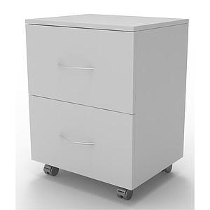 Meuble mobile blanc à 2 tiroirs, L830 x p500 x H780mm