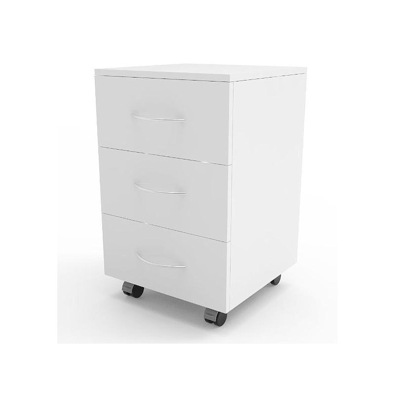 Meuble mobile blanc à 3 tiroirs, L450 x p450 x H720 mm