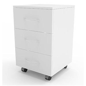Meuble mobile blanc à 3 tiroirs, L450 x p450 x H720mm