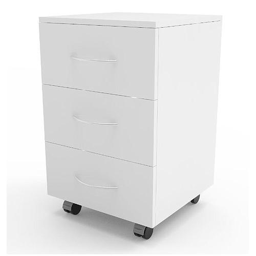 Meuble mobile blanc à 3 tiroirs, L530 x p500 x H780 mm