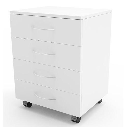 Meuble mobile blanc à 4 tiroirs, L600 x p450 x H720 mm