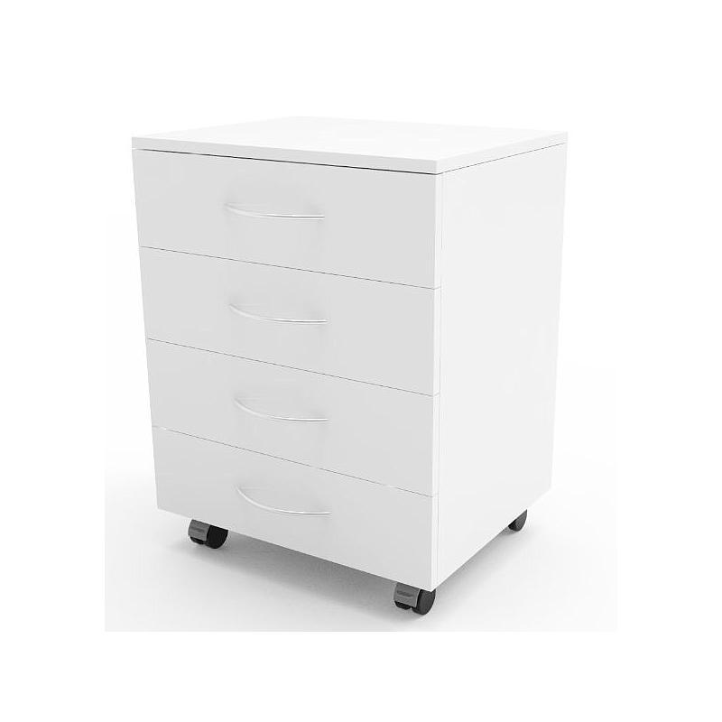 Meuble mobile blanc à 4 tiroirs, L900 x p450 x H720 mm