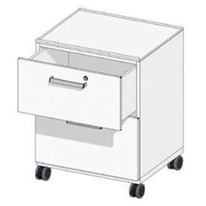 Meuble mobile en acier à 4 tiroirs H150 mm avec serrure, L450 x p516 x H740 mm