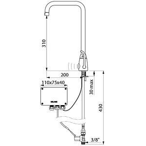 Mitigeur électronique de lavabo, alimentation 230V