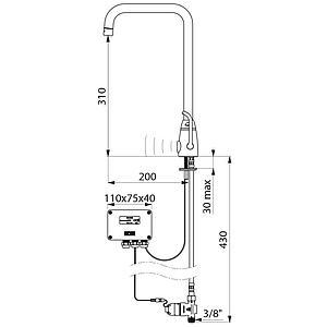 Mitigeur électronique de lavabo, alimentation à piles