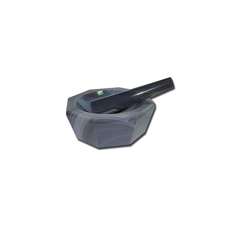 Mortier à main en agate avec pilon - 100 ml
