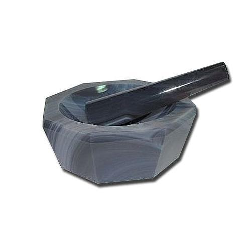 Mortier à main en agate avec pilon - 200 ml