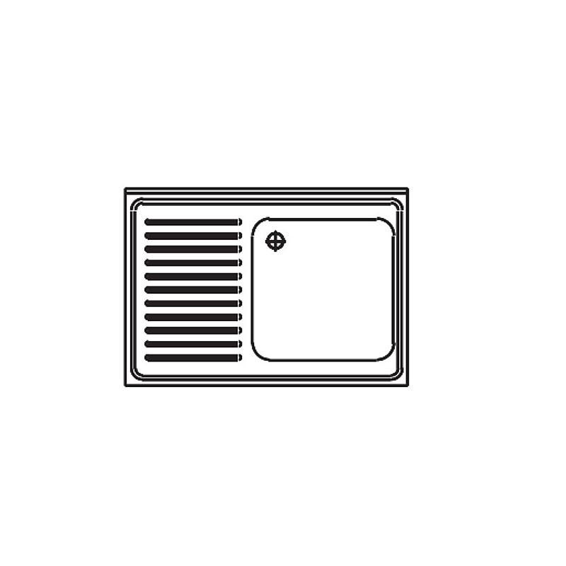 Paillasse humide - Avec évier à droite et dosseret - 1200 x 700 mm - Bano