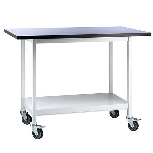 Paillasse métallique, mobile, sèche, nue avec 1 étagère en acier, L1200 x p600 x H750 mm