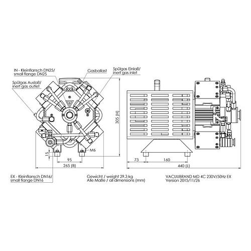 Pompe à vide chimie - Atex MD 4C EX Vario - Vacuubrand