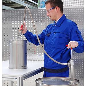Pompe vide-fût inox, flexible d'écoulement et robinet, ATEX - Bürkle
