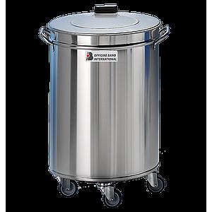 Poubelle inox avec couvercle sur roulettes 100 litres - Bano