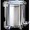 Poubelle inox ronde avec couvercle à pédale sur roulettes 90 litres