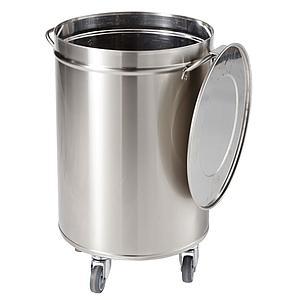Poubelle inox ronde avec couvercle sur roulettes 50 litres