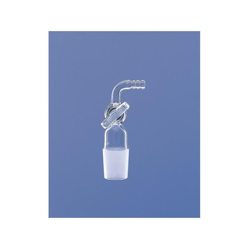 Raccord cannelé coudé avec robinet - rodage 19/26 - Lenz