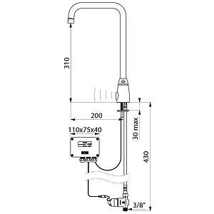 Robinet électronique de lavabo, alimentation à piles