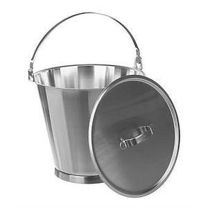 Seau inox gradué avec couvercle - 15 litres