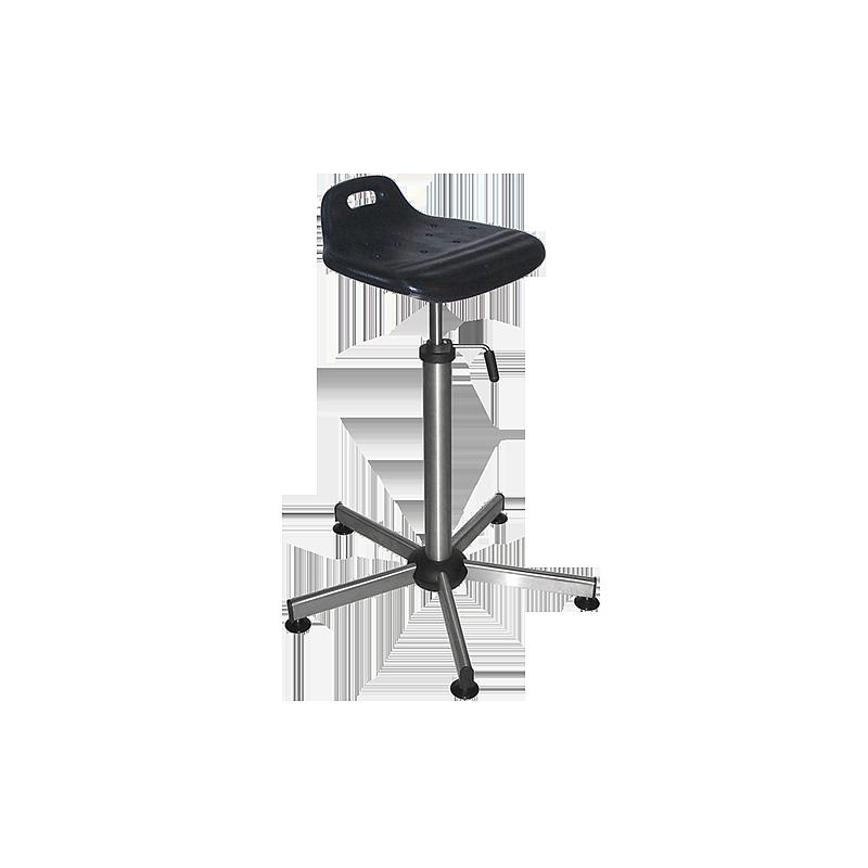 Siège assis-debout professionnel inox / polyuréthane noir - Kango