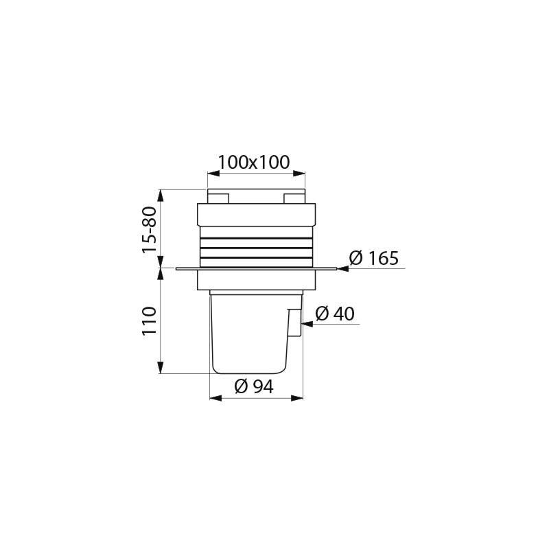 Siphon de sol, 100 x 100 mm