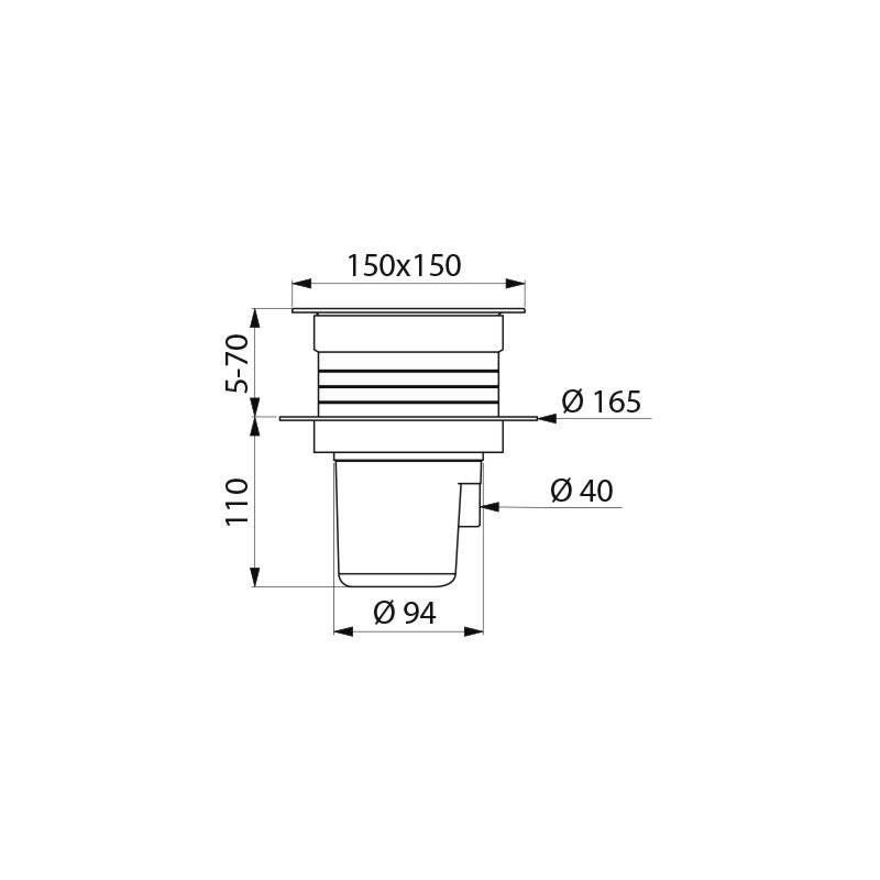 Siphon de sol, 150 x 150 mm