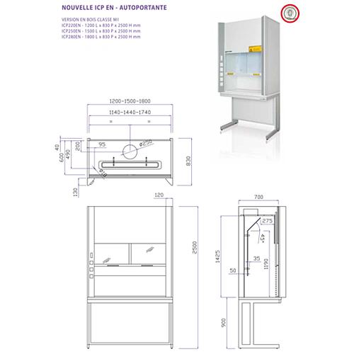 Sorbonne autoportante complète ICP EN - 1500 mm - Classe M1 - Certifiée EN14175 - plan de travail avec bénitier - Asem
