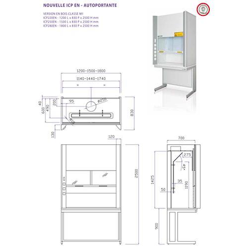 Sorbonne autoportante complète ICP EN - 1800 mm - Classe M1 - Certifiée EN14175 - plan de travail avec bénitier - Asem