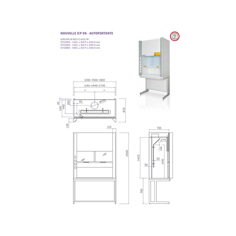 Sorbonne autoportante complète WICP EN - 1200 mm - Classe M1 - Certifiée EN14175 - Asem