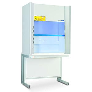 Sorbonne blanche avec piètement, classe M0, guillotine à 1 vitre fixe (verre sécurit) L1200 x P870 x H2300 mm