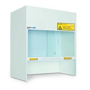 Sorbonne blanche sans paillasse, classe M1, 1 guillotine à 1 vitre fixe (verre sécurit) L1200 x P750 x H1400 mm