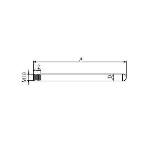 Tige pour socle avec filetage M10 - 750 mm